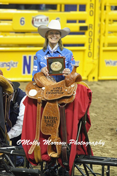 Mary Walker with her 2012 NFR World Title Buckle and Saddle